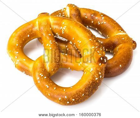 Pretzels traditional German beer snack. Studio Photo
