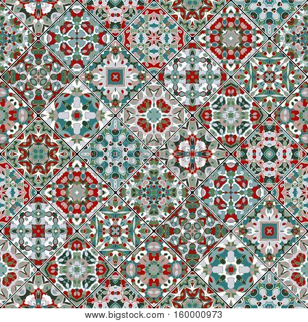 Collection of abstract patterns in the mosaic set. Square scraps in oriental style. Vector illustration. Ideal for printing on fabric or paper. Blue and green colors.