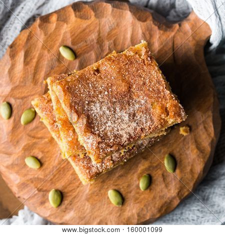 Pumpkin Spiced Blondies On Wooden Board. Square