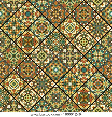 Orange and green abstract patterns in the mosaic set. Square scraps in oriental style. Vector illustration. Ideal for printing on fabric or paper.