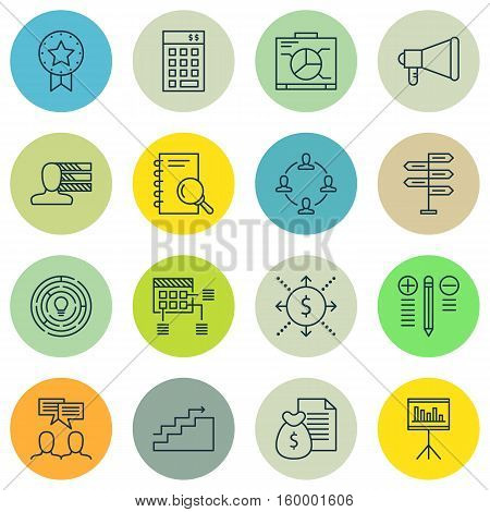 Set Of 16 Project Management Icons. Can Be Used For Web, Mobile, UI And Infographic Design. Includes Elements Such As Announcement, Schedule, Revenue And More.