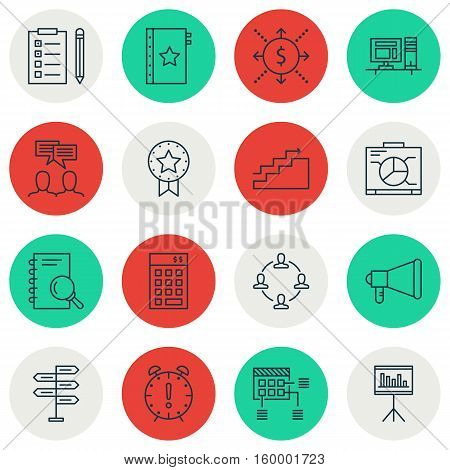 Set Of 16 Project Management Icons. Can Be Used For Web, Mobile, UI And Infographic Design. Includes Elements Such As Promotion, Dashboard, Project And More.