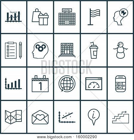 Set Of 20 Universal Editable Icons. Can Be Used For Web, Mobile And App Design. Includes Elements Such As Loading Speed, Analytics, Greeting Email And More.