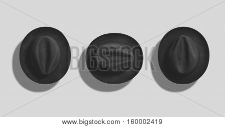 Top view of a classic black felt fedora hat shot as a mockup set on white background