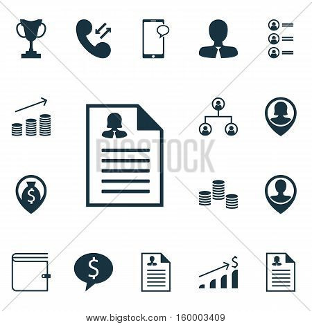 Set Of 16 Management Icons. Can Be Used For Web, Mobile, UI And Infographic Design. Includes Elements Such As Dollar, Cellular, Cash And More.