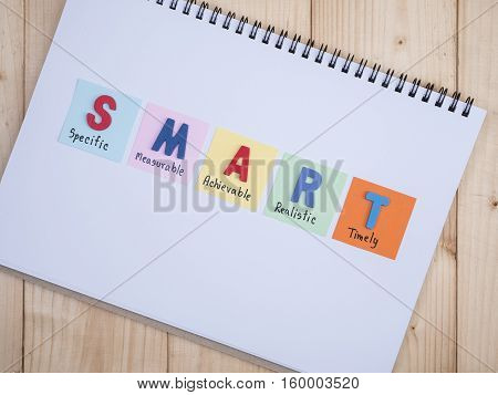 SMART Goals in notebook on wood background with top view (Business Concept)