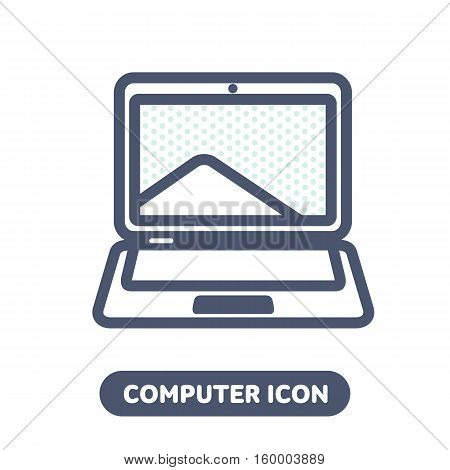 Laptop Vector Icon In Linestyle
