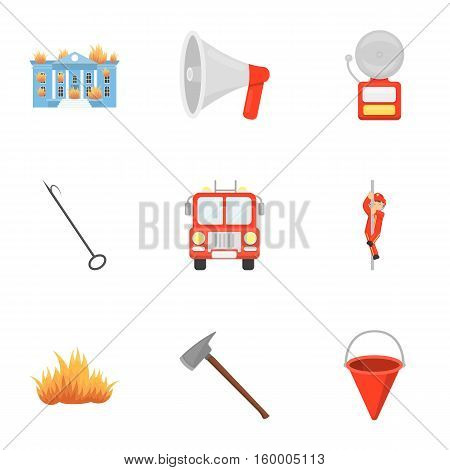 Fire department set icons in cartoon style. Big collection of fire department vector symbol stock