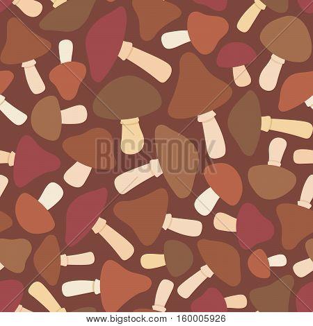 Mushroom seamless pattern on dark background. Vector illustration