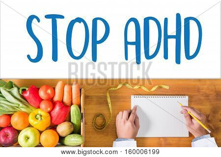 Stop Adhd Concept Medicine Doctor Hand Working Professional Doctor Use Computer And Medical