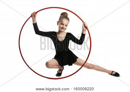 Happy Girl Gymnast With A Hoop