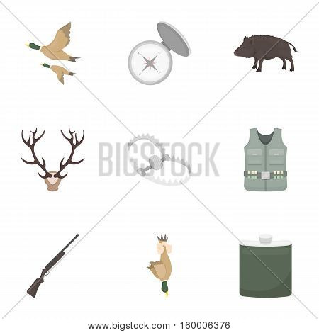 Hunting set icons in cartoon style. Big collection of hunting vector symbol stock