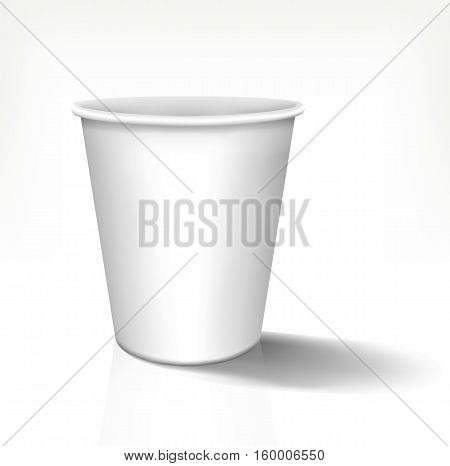 White realistic paper cup in front view. Vector template, 3d design. Fully editable handmade mesh. Disposable paper cup used for advertising different drinks.