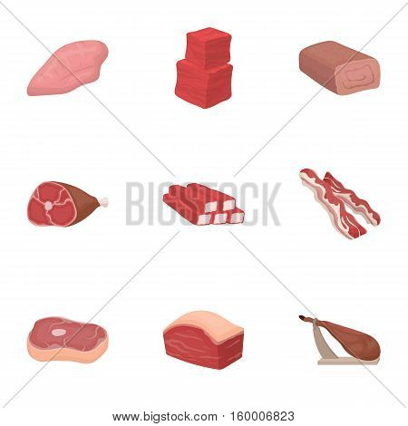Meats set icons in cartoon style. Big collection of meats vector symbol stock