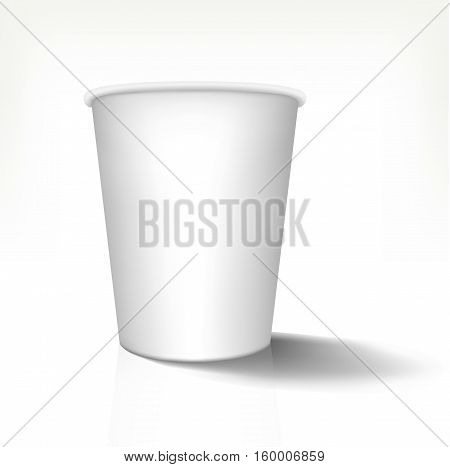 Mock up of realistic paper cup in front view. Vector illustration, 3d design. Fully editable handmade mesh. Disposable paper cup used for advertising different drinks.