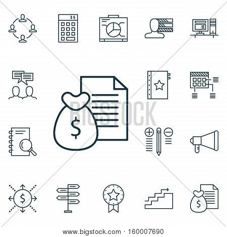 Set Of 16 Project Management Icons. Can Be Used For Web, Mobile, UI And Infographic Design. Includes Elements Such As Dashboard, Workspace, Right And More.