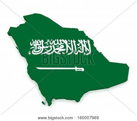 3d Illustration of Saudi Arabia Flag Map Isolated On White Background