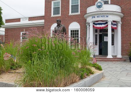 BOSTON,MASSACHUSETTSUSA - JULY 12,2016: The John F. Kennedy Hyannis Museum is a historical museum located at 397 Main Street Hyannis Massachusetts.