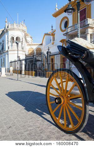 Seville Spain - November 192016: Bullfight arena plaza de toros at Sevilla.Seville Real Maestranza bullring plaza toros de Sevilla in andalusia Spain
