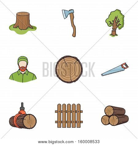 Sawmil and timber set icons in cartoon style. Big collection of sawmill and timber vector symbol stock