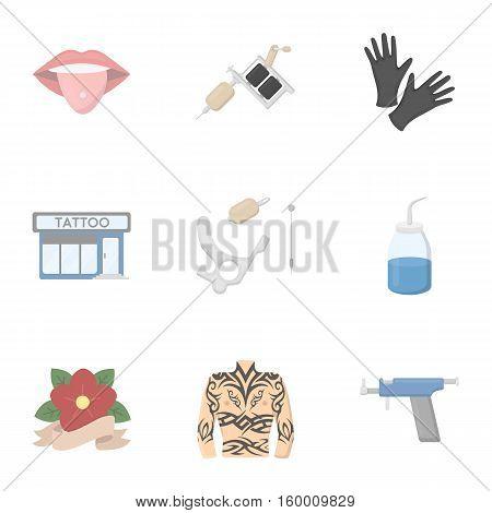 Tattoo studio set icons in cartoon style. Big collection of tattoo studio vector symbol stock