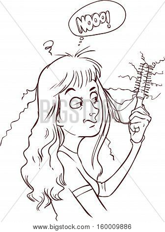 vector illustration of a beautiful girl with hair loss is shocked