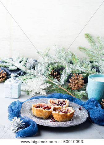 Christmas Mini Apple Desserts With Pomegranate Seeds