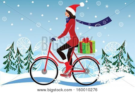 girl in a Christmas cap, on bicycle carries gifts, winter, winter landscape