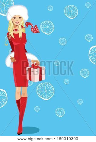 beautiful girl in red dress with box gift