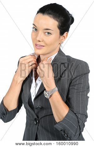 Portrait of beautiful businesswoman in isolated on white background