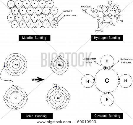 Vector illustration of a metallic bonding hydrogen bondingionic bondingcovalent bonding