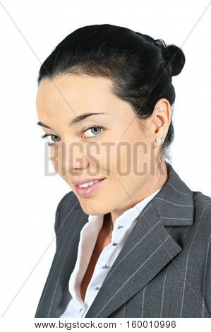 Close up portrait of beautiful businesswoman on white background