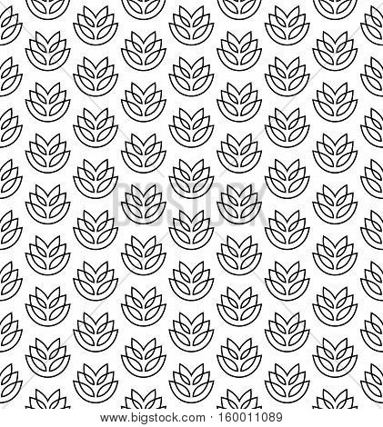 Wheat ears seamless pattern. Stylized elegant linear ears black on white color.