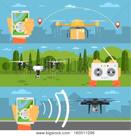 Drone technology banner with remotely controlled flying robots in park vector illustration. Radio controller with smartphone for piloting multicopter. Unmanned aerial vehicle. Modern flying device
