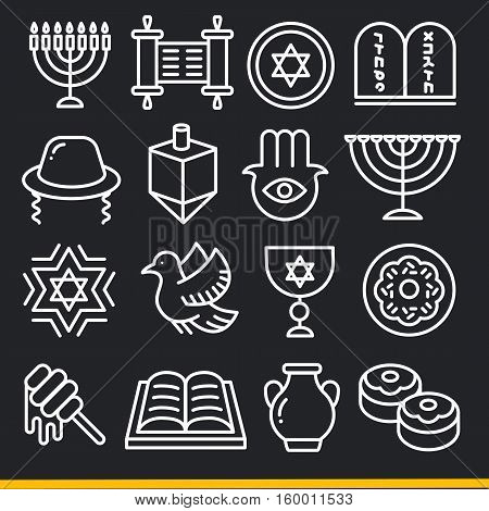 Vector lines icons pack collection jew set