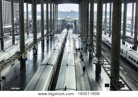 MADRID, SPAIN - NOVEMBER 19, 2016: Atocha, the railway station for high speed express trains in Madrid, Spain