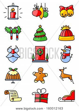 Set with thin simply Christmas icons set. Minimalistic design in bright colors. Winter holidays decorations and characters