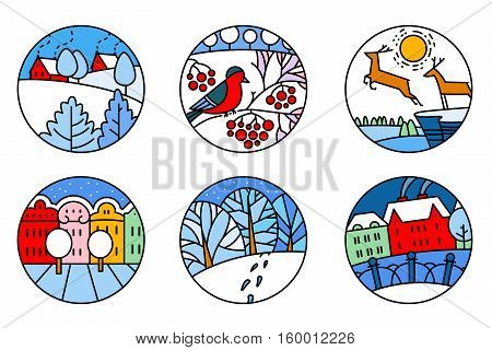 Thin simply round icons set with urban and nature landscapes. City street cute deers bird on the rowan branch facades of buildings in bright colors