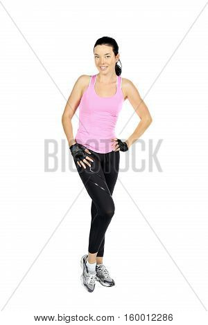 Full portrait of beautiful woman in sportswear isolated on white background