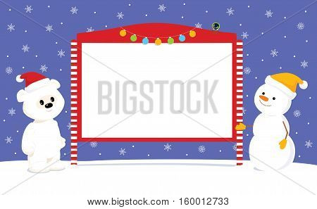 Vector Christmas illustration of a cute baby polar bear and a snowman in Santa hats standing near blank street bulletin board. Place for text on a white background.