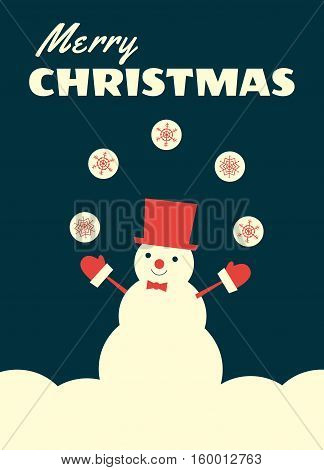 Vector retro styled illustration of a snowman in a top hat and bow tie juggling with snowballs. Vertical format dark background.