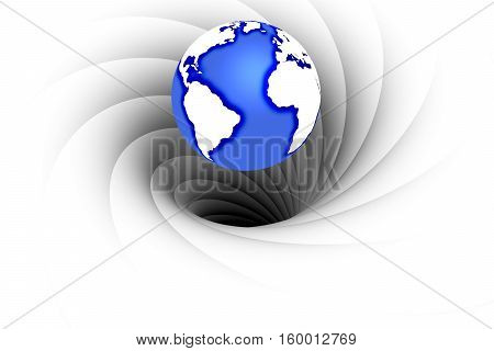 black hole absorbing the planet earth 3d illustration