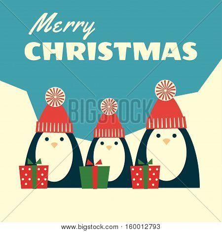 Vector retro styled illustration of three penguins in red knit hats with pompoms standing near gift boxes. Polar landscape on the background text