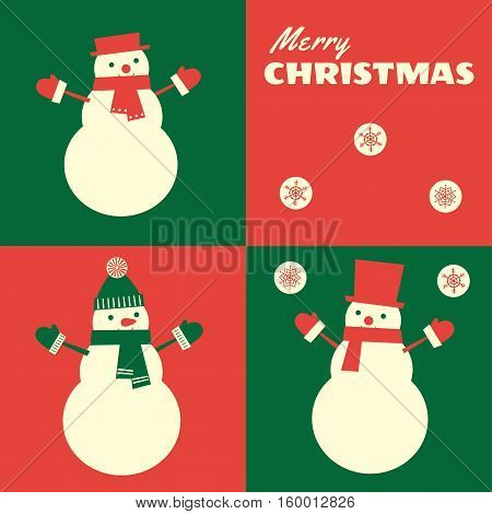 Vector retro styled illustration of snowmen designed in three colors: red green and cream. Square format.