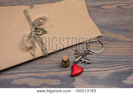 Red Heart Keychain - Plane, Glass Vial With Sand And Envelopes