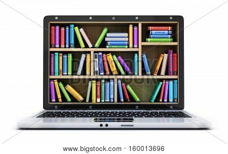 Laptop and many books on white background. 3d illustration