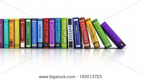 Row of books and white background. 3d illustration