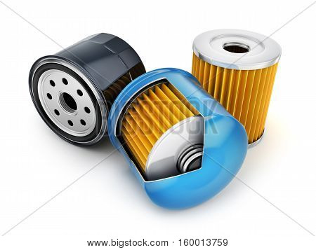 Three oil filters on white background. 3d illustration