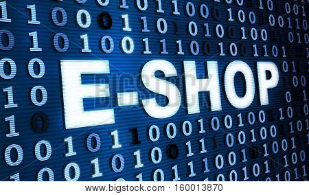 Blue binary code and e-shop. 3d illustration