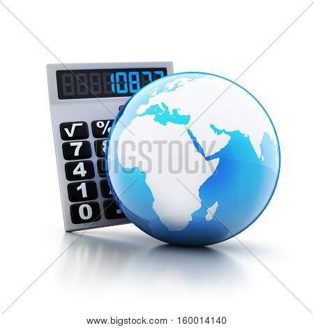 calculator and abstract blue earth on white backdround. 3d illustration